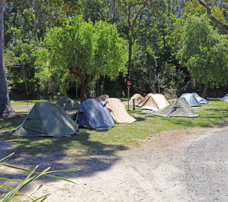 The Ocean Road park offers great campsites a short stroll from the shops, river, and beach.