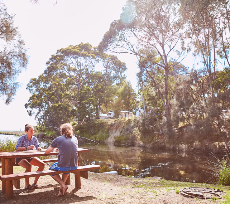 Picnic tables at Erskine River park
