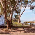 Caravan camping along Erskine River in Lorne
